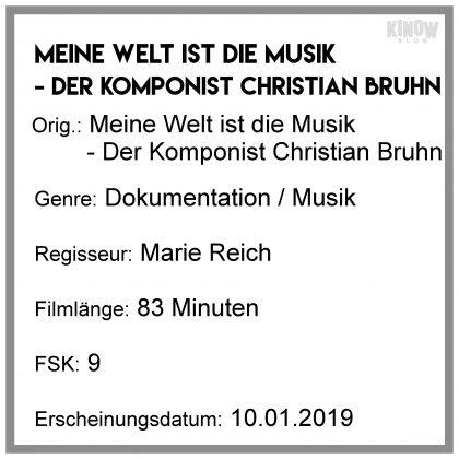 Meine Welt ist die Musik - Der Kompnist Christian Bruhn Kritik Info